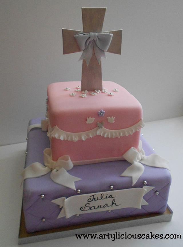 """S & J"" 1st Communion Cake"