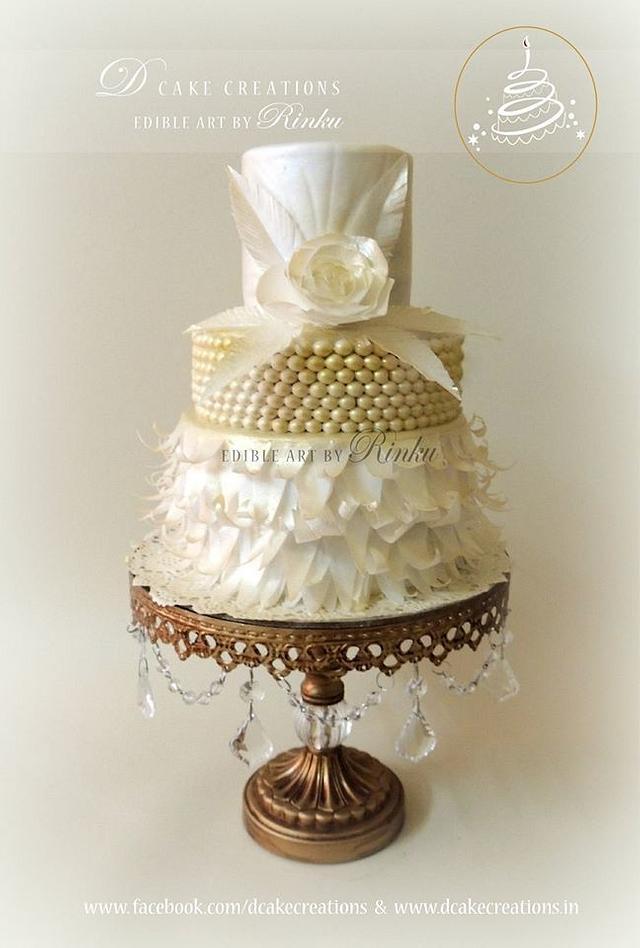 White & Gold Paper Flower Cake