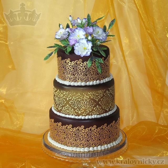 Vintage with flowers and gold lace