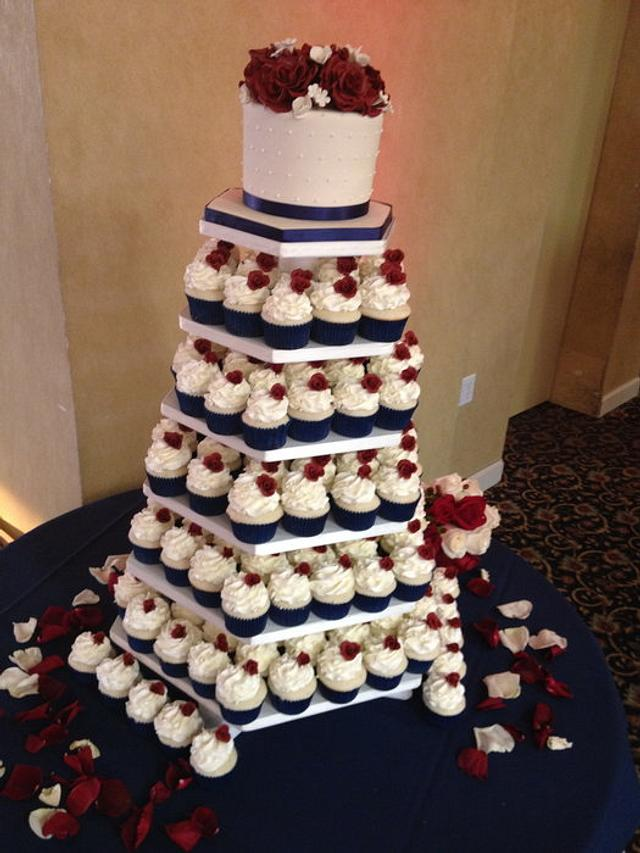 Navy & Burgundy Wedding Cupcakes