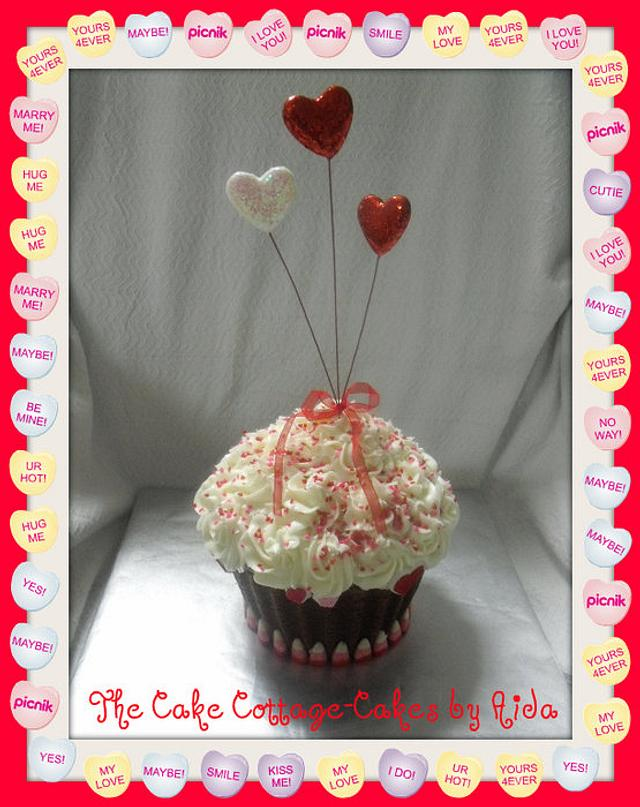 Valentine Giant Cupcake with hearts.