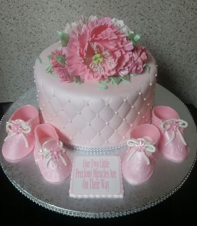 Pink Peonies Baby Shower Cake