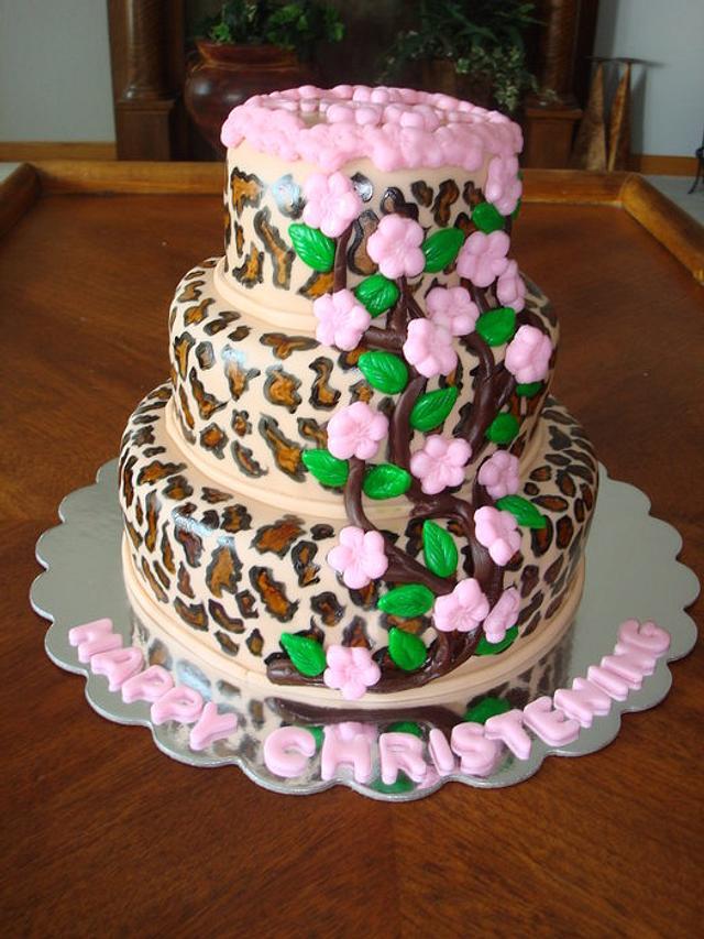 Leopard & Apple Blossom Christening Cake