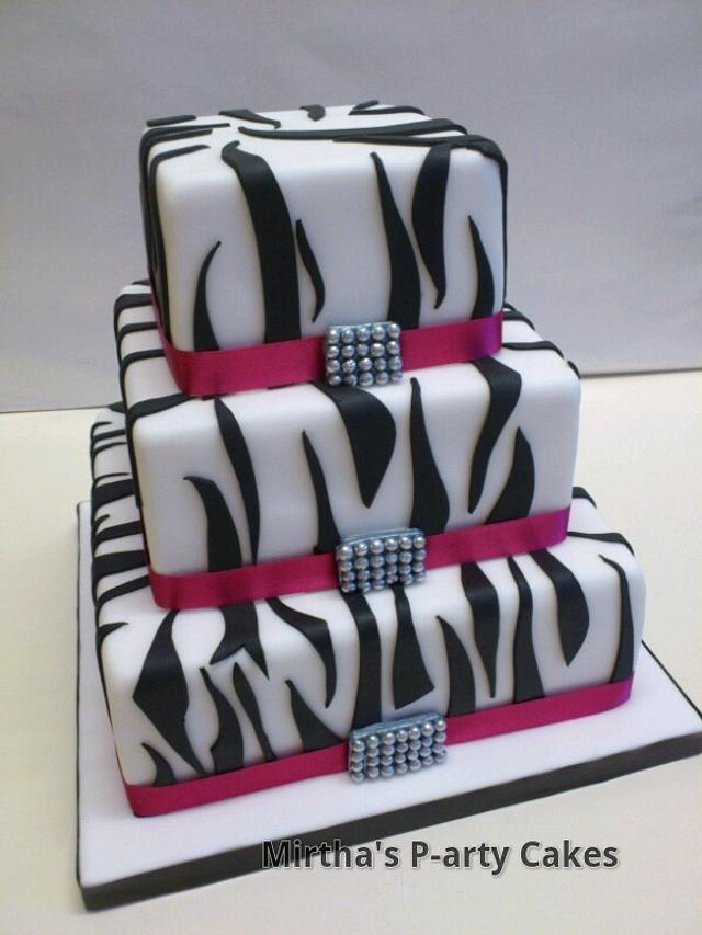 Triple tier Zebra cake