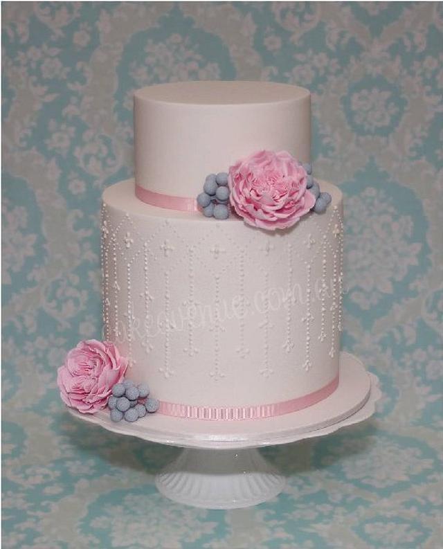 Pink Austin Rose & Silver Brunia Wedding Cake