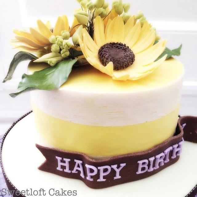Prime Sunflower Birthday Cake Cake By Heidi Cakesdecor Funny Birthday Cards Online Necthendildamsfinfo