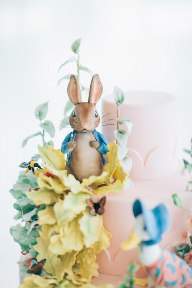 Beatrix Potter Cake with Sugar Figures and Sugar Flowers