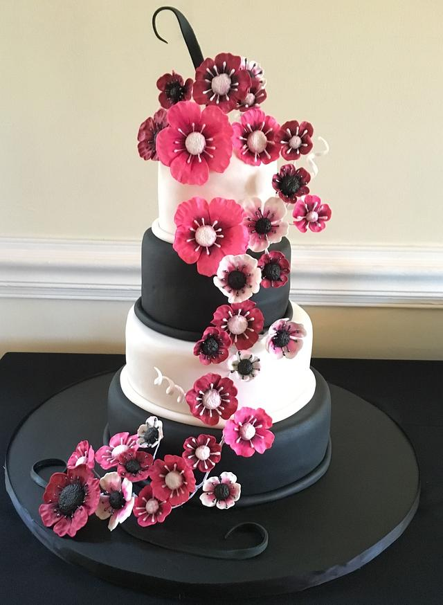 Pink, White and Black Wedding Cake