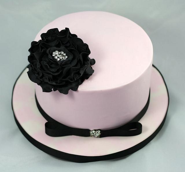 Black Fantasy Flower Bling Cake