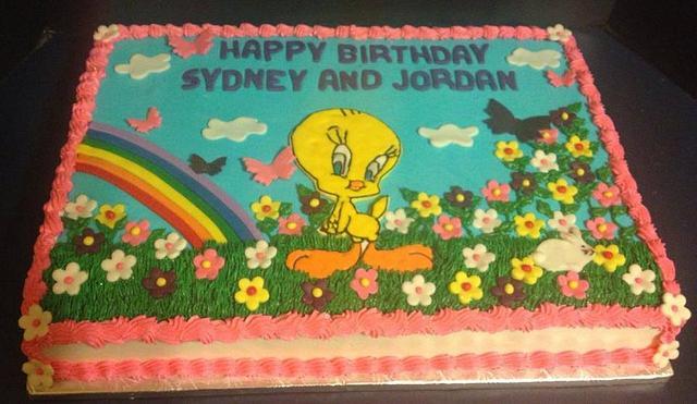 Admirable Tweety Bird Garden Party Cake By Tracys Custom Cakery Cakesdecor Funny Birthday Cards Online Kookostrdamsfinfo