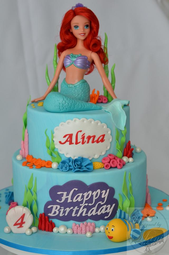 Cool Ariel The Mermaid Birthday Cake Cake By Designed By Cakesdecor Funny Birthday Cards Online Alyptdamsfinfo