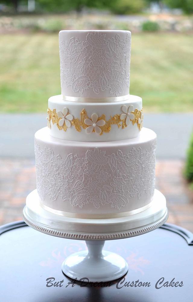 Blush and Lace Wedding Cake