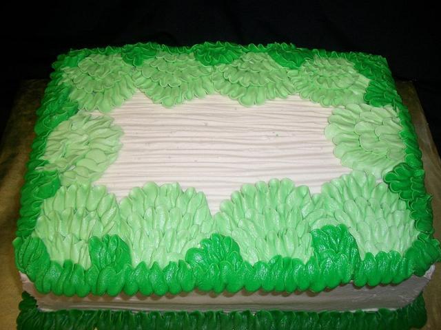 Green Ruffles Sheet Cake
