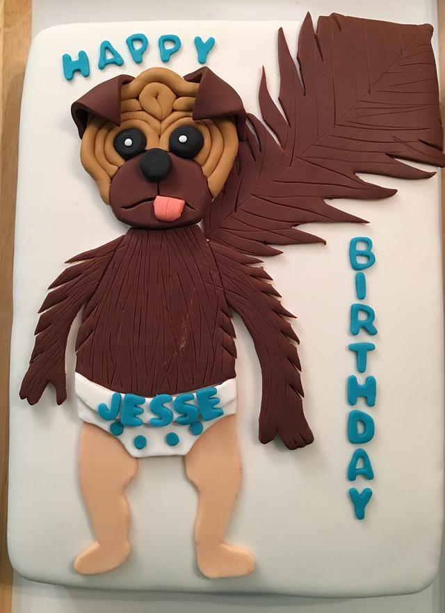 Baby puppy monkey cake
