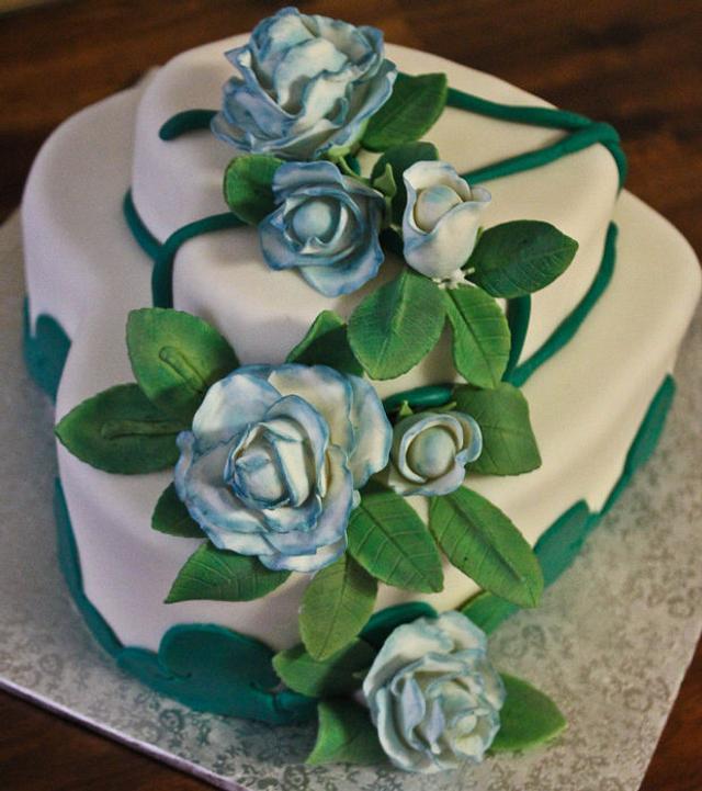 Blue edged Rose  Anniversary cake
