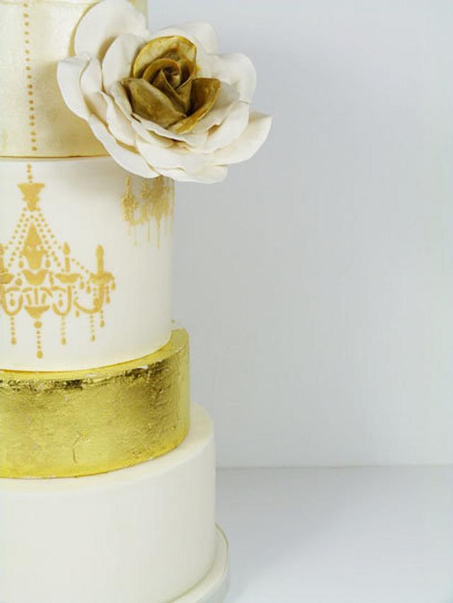 Gold leaf and Chandelier wedding cake