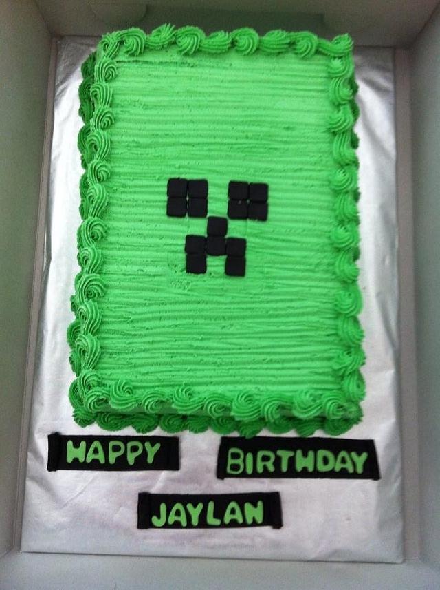 Sensational Minecraft Creeper Cake Cake By Caymancake Cakesdecor Personalised Birthday Cards Paralily Jamesorg