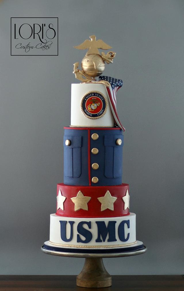 Astounding Marine Corp Ball Cake By Lori Mahoney Loris Custom Cakesdecor Funny Birthday Cards Online Elaedamsfinfo