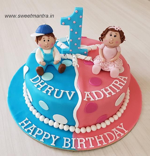 Admirable Customized Cake For Twin Boy N Girls 1St Birthday Cake Cakesdecor Birthday Cards Printable Trancafe Filternl
