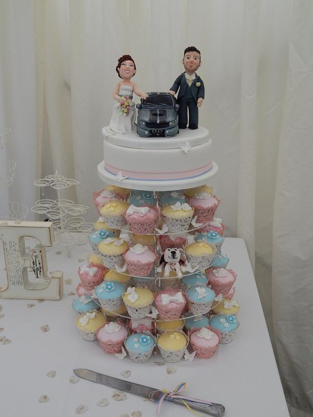 Toppers and cupcakes wedding cake