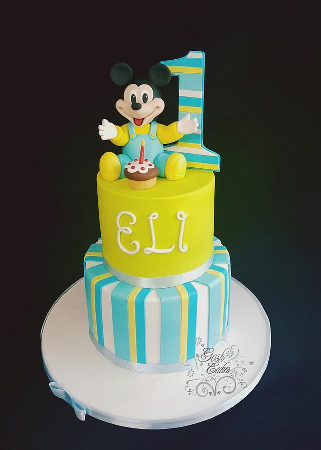 Pleasant Baby Mickey 1St Birthday Cake By Goshcakes Cakesdecor Funny Birthday Cards Online Alyptdamsfinfo
