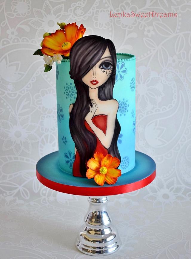 Airbrush painted cake.