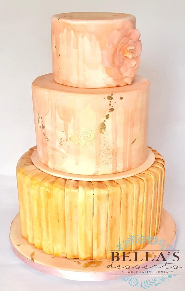 Water Color Drip Wedding Cake