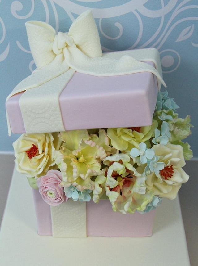 Gift Box filled with gumpaste flowers