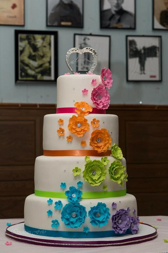 Crystal's Rainbow Wedding cake