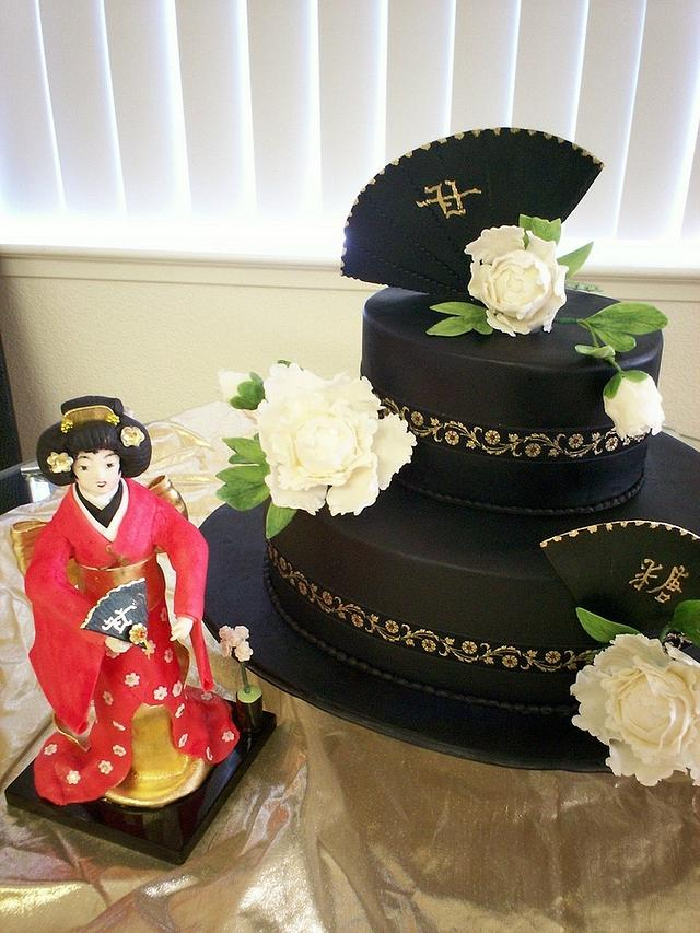 Asian Themed Cake And Gumpaste Geisha