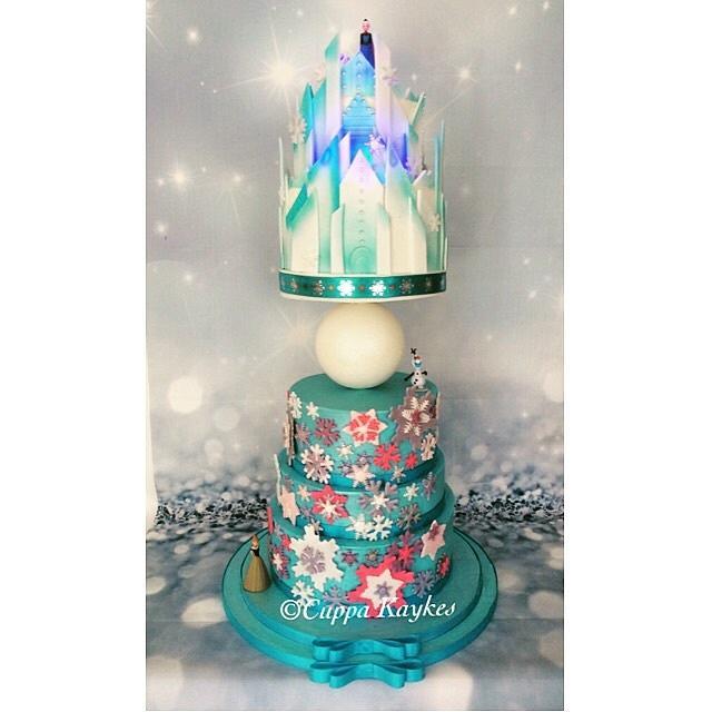 Frozen themed ice castle cake