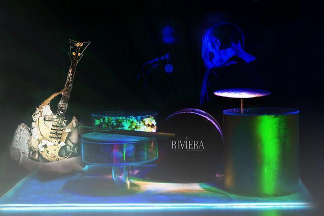Riviera Rocks - Drum/guitar cake