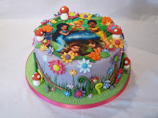 TINKERBELL AND FRIENDS PHOTO CAKE