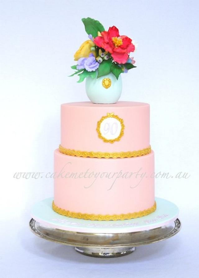 Prime 90Th Birthday Cake Sugar Vase And Flowers With Gold Cakesdecor Funny Birthday Cards Online Ioscodamsfinfo