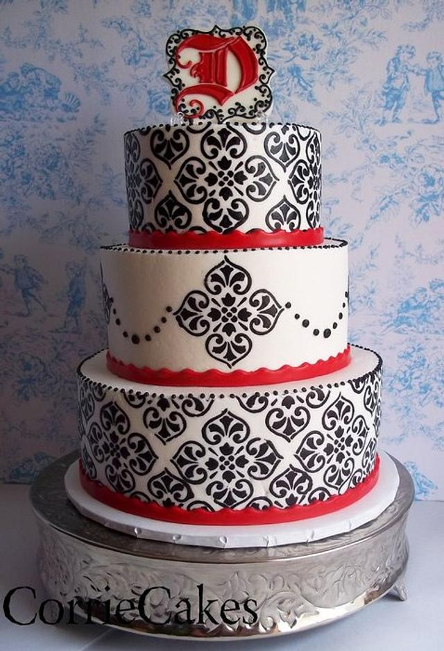 Black, white and red damask