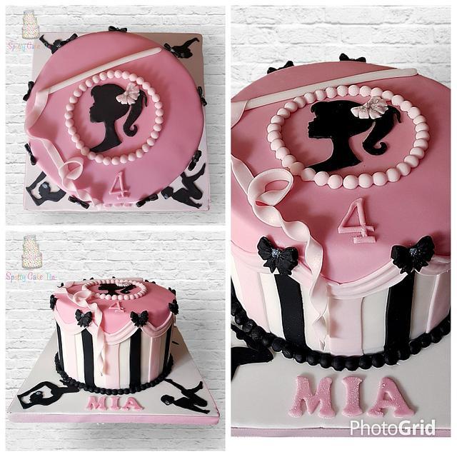 Barbie silhouette gymnastic cake