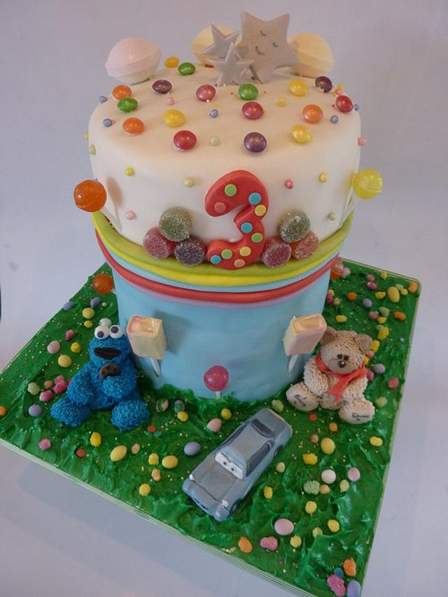 My sons surprise inside 3rd birthday cake <3