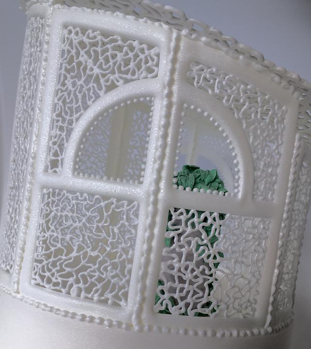 Elegant Wedding Cake with Gazebo and Stairs