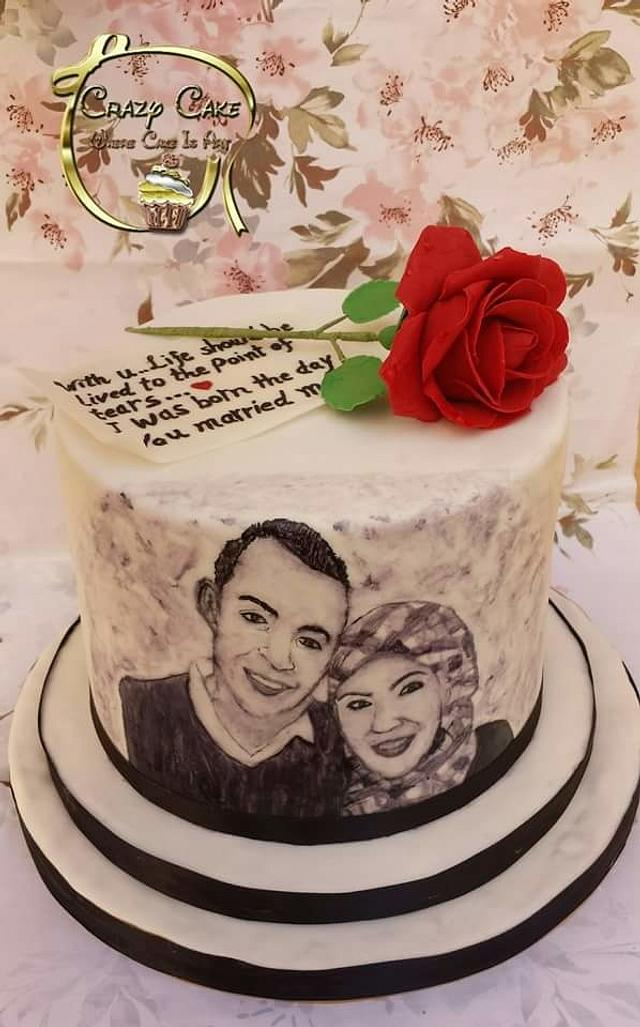 Handpainted Romantic cake
