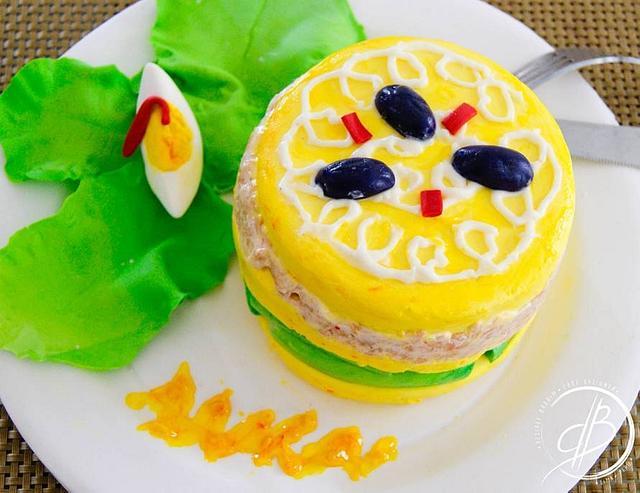 Causa limeña cake food challenge
