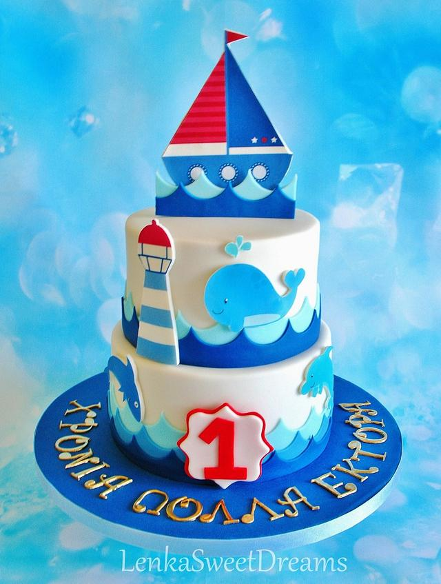 Prime Nautical Birthday Cake For A Little Sailor Cake By Cakesdecor Personalised Birthday Cards Veneteletsinfo