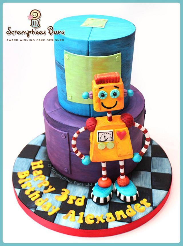 Phenomenal Robot Birthday Cake Cake By Scrumptious Buns Cakesdecor Funny Birthday Cards Online Alyptdamsfinfo