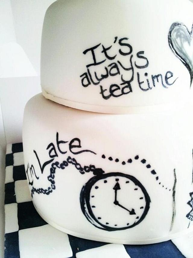 Hand Painted Alice In Wonderland Cake