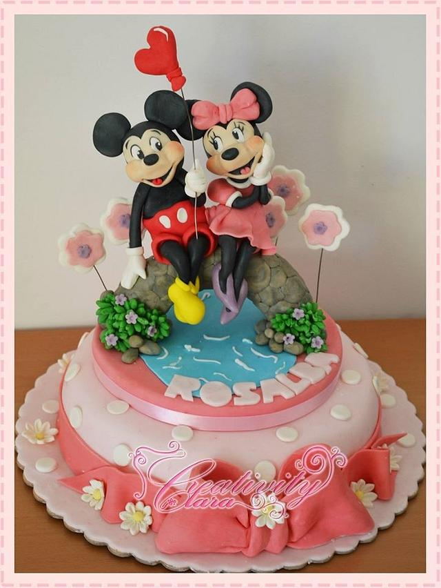 cake tutorial minnie and mikey mouse lovers - topolino e minnie torta san valentino