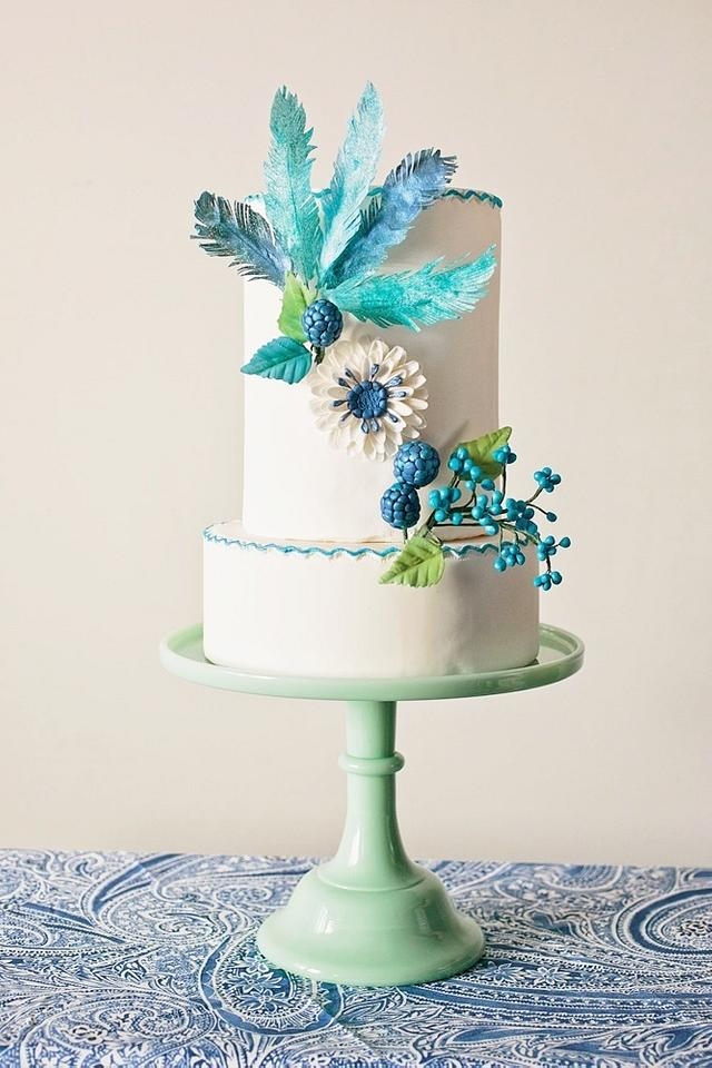 Flowers and Feathers Bridal Shower Cake