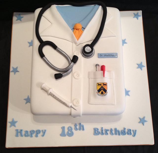 Doctors coat cake