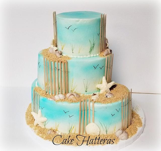 Hand Painted Beach Wedding Cake