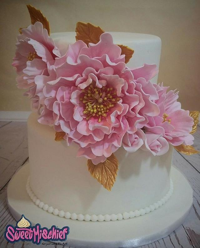 Blush Pink and gold 2 tier wedding cake