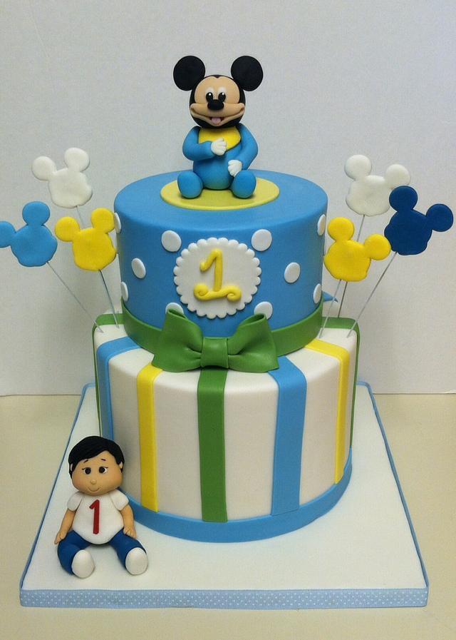 Remarkable Mickey 1St Birthday Cake Cake By Stephanie Cakesdecor Funny Birthday Cards Online Fluifree Goldxyz