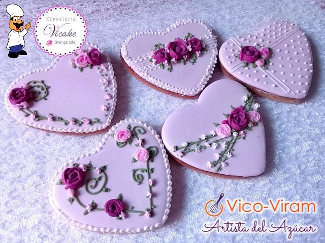 Set Wedding purpple hearts